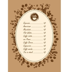 Menu list for hot drinks vector