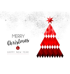 Merry christmas design of red low poly pine tree vector