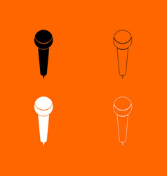 microphone black and white set icon vector image