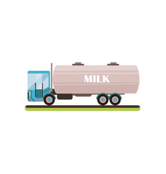 milk tanker truck on a white vector image
