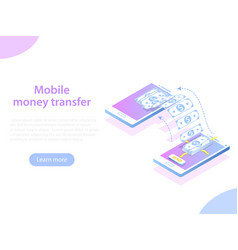 mobile money transfer isometric concept vector image