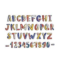 modern latin font or english alphabet hand drawn vector image