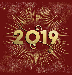New year 2019 firework explosion card gold vector