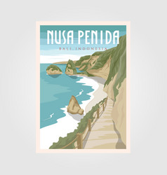 nusa penida bali beach vintage travel poster bali vector image