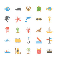 Ocean and sea life icons set vector
