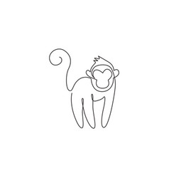 One single line drawing cute monkey vector