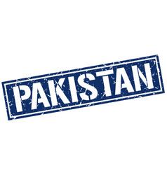 Pakistan blue square stamp vector