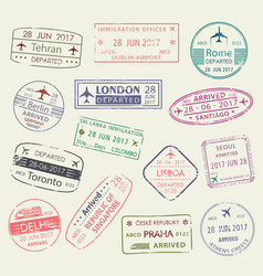 passport stamp of travel visa isolated set design vector image