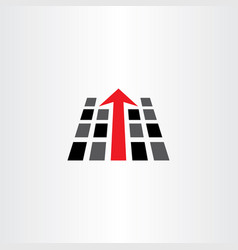 Pc data with arrow direction logo icon vector