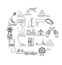 Physical culture icons set outline style vector