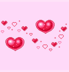 pixel hearts for valentines day greetings vector image