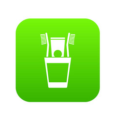 plastic cup with brushes icon digital green vector image