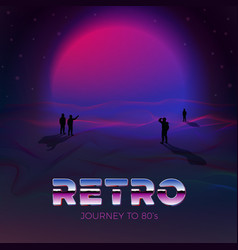 Poster template in 80s retro futurism style vector