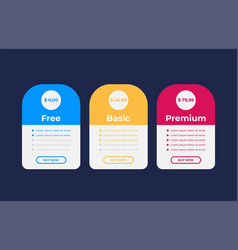 Pricing table for websites and applications vector