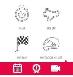 Race flag timer and motorcycle helmet icons vector