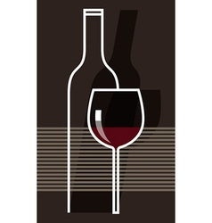 Red wine and glass vector