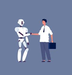 robot handshaking businessman meeting vector image