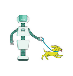 robot housekeeper walks dog - cartoon character vector image