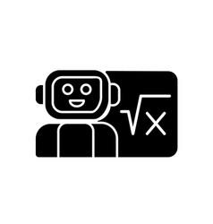 Robotics in education black glyph icon vector