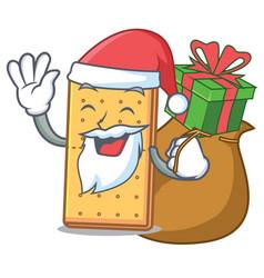 Santa with gift graham cookies mascot cartoon vector