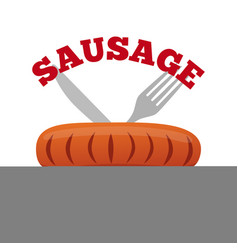Sausage logo label for menu shops flat style vector