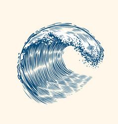 sea wave sketch surfing concept vintage vector image