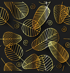 seamless pattern with golden leaves vector image