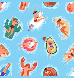 seamless summer pattern with happy people in pool vector image