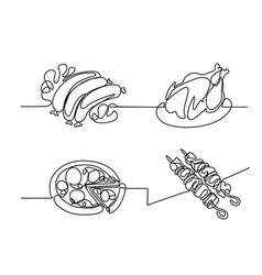 Set continuous line drawing food vector