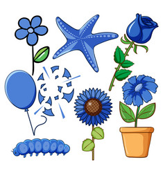 set flowers and other things in blue color vector image