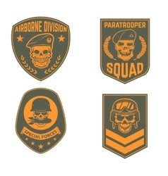 Set of military emblems templates skull in vector