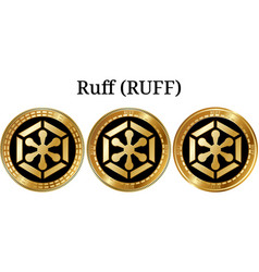 Set of physical golden coin ruff ruff vector