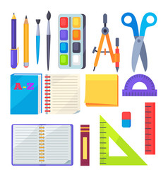 Set of stationery objects compass divider pen vector
