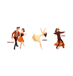 set various styles dancing professional vector image