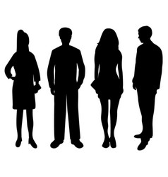 silhouettes people women and men vector image
