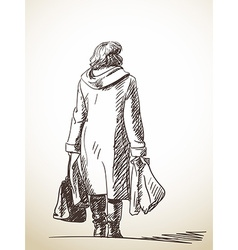 Sketch standing woman with shopping bags hand vector
