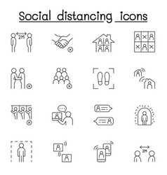 Social distancing icon set in thin line stlye vector