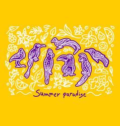 Summer abstract set tropical jungle art line bird vector