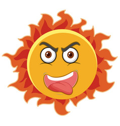 Sun cartoon character with angry face expression vector