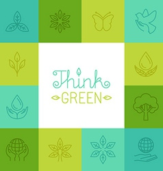 Think green concept in linear style vector