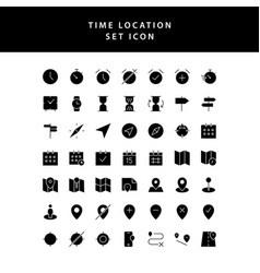 time location glyph style icon set vector image