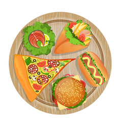 Top view fast food set on wooden board vector