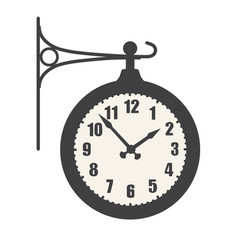 Train station clock icon isolated on white vector