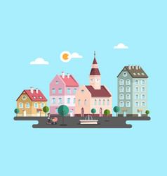 urban landscape flat design city with buildings vector image