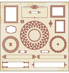 Vintage floral pattern elements collection vector