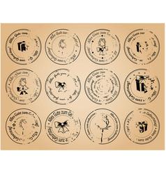 Vintage postage stamps happy birthday on german vector