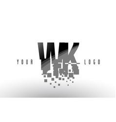 wk w k pixel letter logo with digital shattered vector image