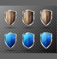 Wooden shield with metal frame realistic trophy vector