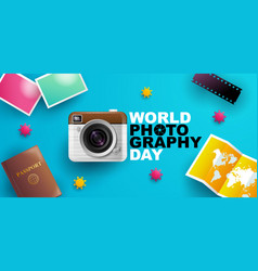 World photography day eventa banner logo vector