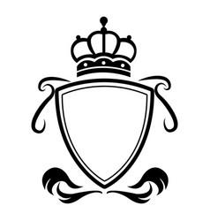 decorative shield crown heraldry victorian elegant vector image vector image